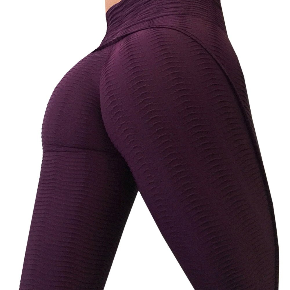 Ferbia Womens Ruched Butt Lifting Leggings High Waist Textured Stretchy Skinny Sport Gym Yoga Pants