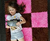 Interlocking Foam EVA Fuzzy Mat Flooring, by Homeneeds (9 piece, Chocolate & Rosemary Fuzzy Mat)