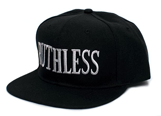 5f89ce30 Ruthless Records Embroidered Vintage 90's Adult One Size Flat Bill Hat Cap  Black
