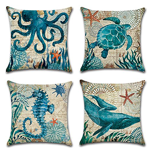Aremetop 4 Pack Ocean Theme Mediterranean Style Cotton Linen Home Decorative Throw Pillow Case Cushion Cover Sea Turtle, Sea Horse, Octopus & Whale Square 18