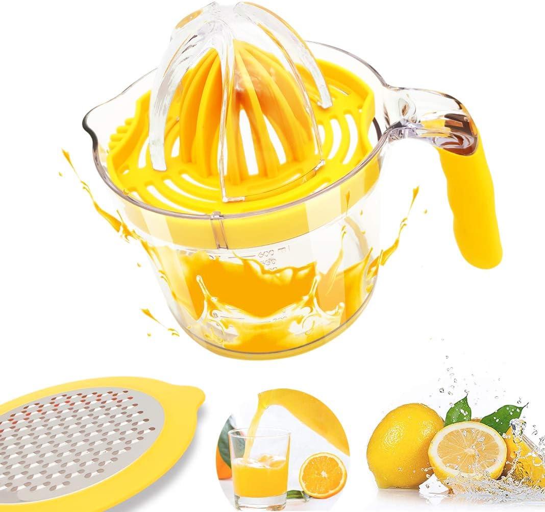 Citrus Juicer, Lemon Orange Juicer Manual Hand Squeezer Built-in Measuring Cup, Anti-Slip Silicone Handle And Egg Separator 20OZ