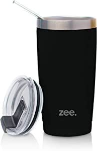 Tumbler with Straw & Cleaning Brush - Vacum Insulated Stainless Steel Tumbler Cup For Hot & Cold Beverages - Non-Slip, Anti-Splash, Sweat-Proof, Portable Travel Mugs by Zee (Black, 20 oz)