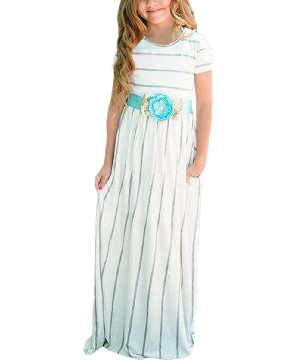 KIDVOVOU Girls Striped Short Sleeve Casual Long Maxi Dress with Pocket Size 4-13,White,4-5years