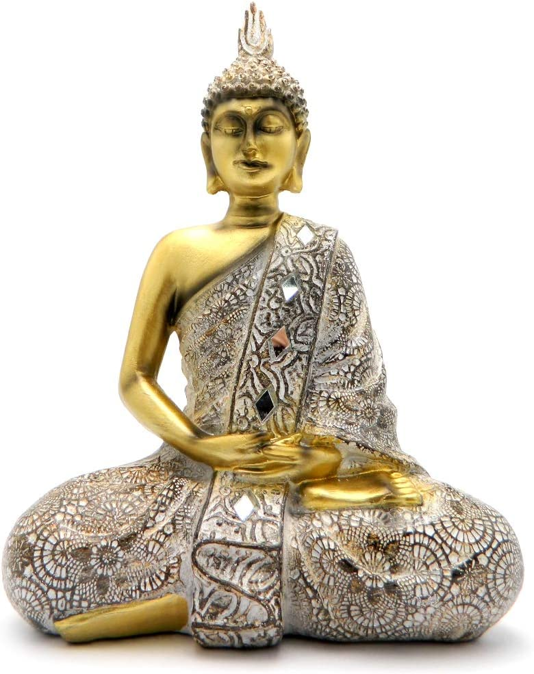Rockin Buddha Statue Gold Antiques Mosaic - 10 inches Tall Pattern Decoration Mantra Buddha Home Decoration Office Meditation Room Temple