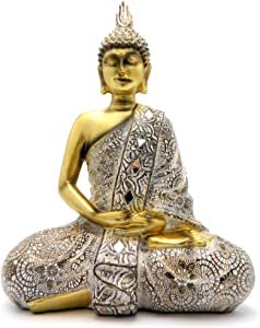 Rockin Buddha Statue Gold AntiquesMosaic - 10 inches Tall Pattern Decoration Mantra Buddha Home Decoration Office Meditation Room Temple