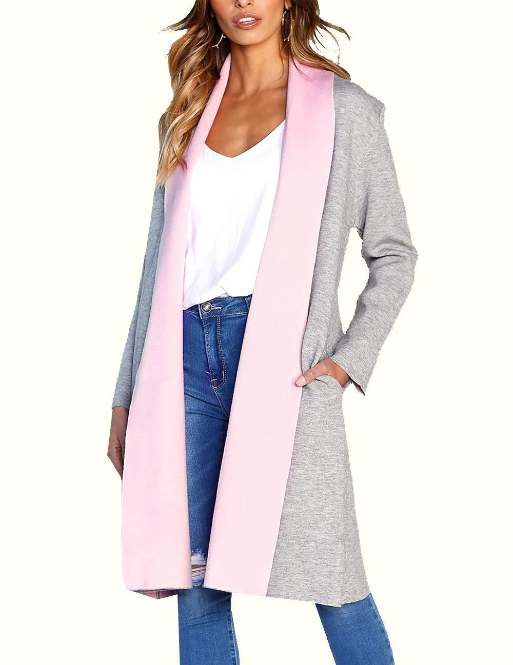 PRETTYGARDEN Women's Long Sleeve Shawl Collar Draped Open Front Long Cardigan Thick Coat Outwear (Pink, Large)