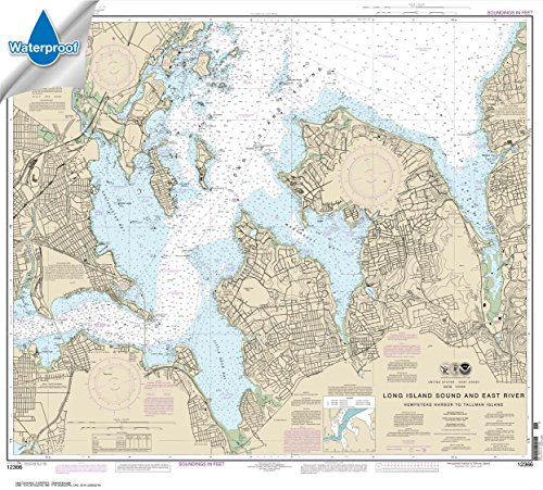 Paradise Cay Publications NOAA Chart 12366: Long Island Sound and East River Hempstead Harbor to Tallman Island 33.3 x 37 (WATERPROOF)