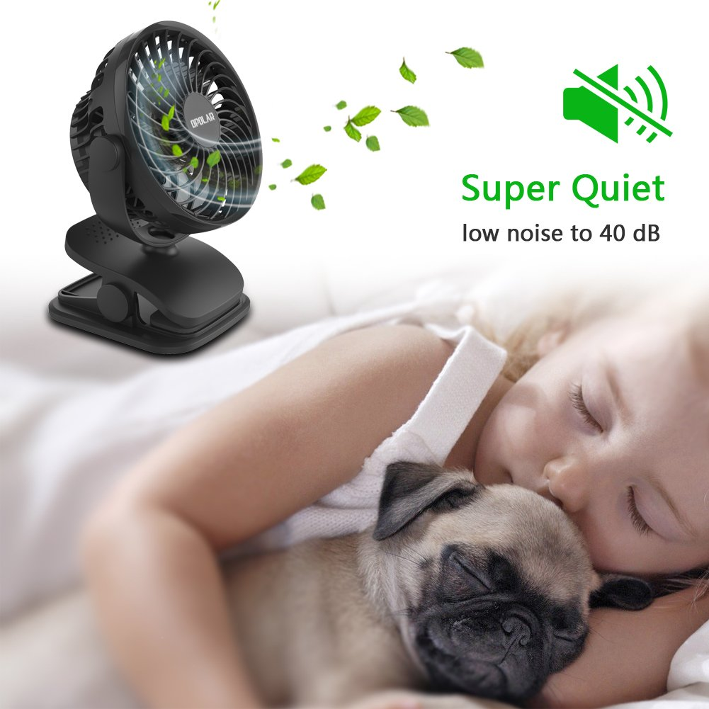 OPOLAR Battery Operated Fan, Clip on and Desk Fan, Personal Portable Fan with 4 Speeds, Rechargeable, 360 Degree Rotation, 2200mAh Battery, Powerful Wind for Baby Stroller,Outdoor Activity, Office by OPOLAR (Image #6)