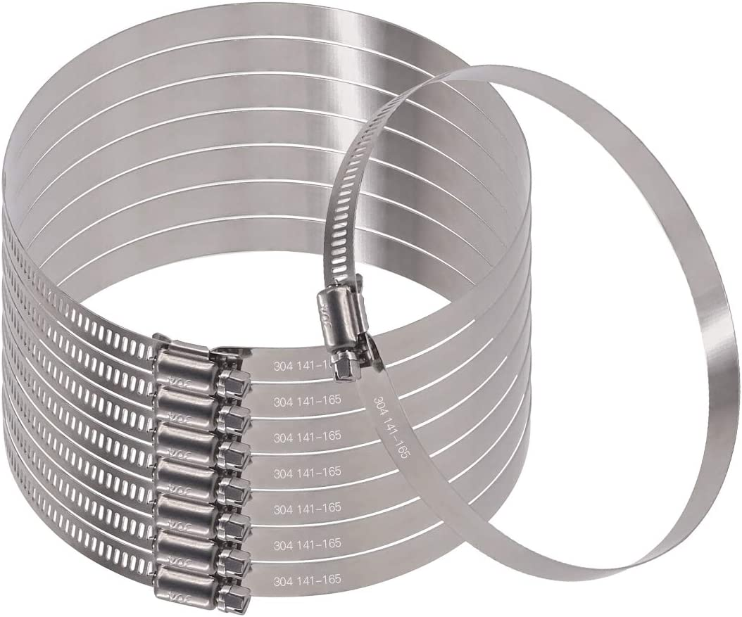141-165mm Automotive and Mechanical Plumbing Glarks 8Pcs 141-165mm//5.5-6.5inch Range 304 Stainless Steel Adjustable Worm Gear Hose Clamps for Fuel Line Clamp for Water Pipe