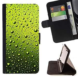 BullDog Case - FOR/LG Nexus 5 D820 D821 / - / GREEN WATER DROPS BEER /- Monedero de cuero de la PU Llevar cubierta de la caja con el ID Credit Card Slots Flip funda de cuer