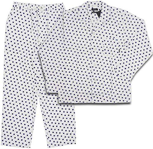 パジャマ 長袖 オフホワイト 紺 イガイガ ドット柄 薄ブルー パイピング Lサイズ 30-8194-010