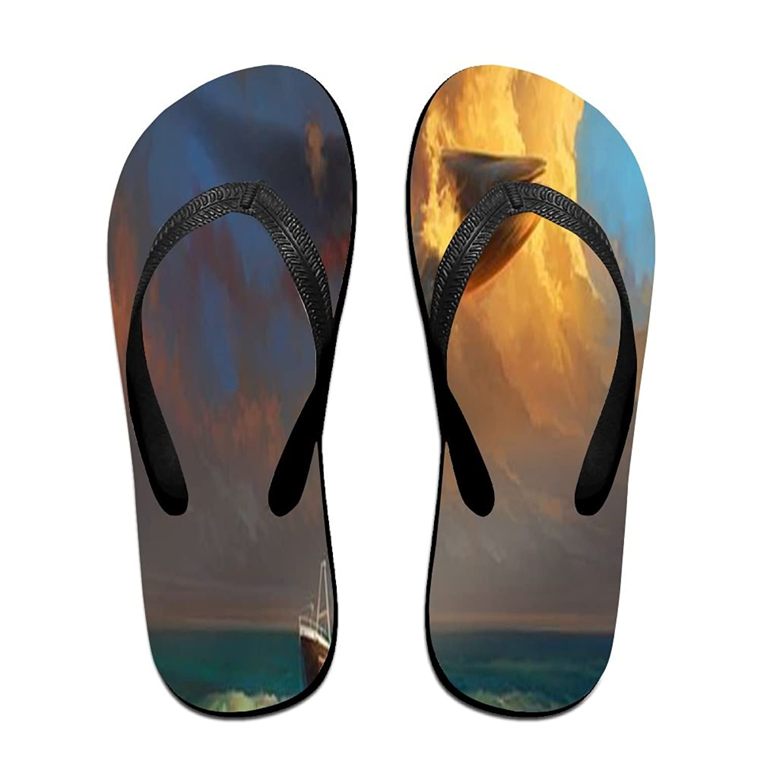 Unisex Non-slip Flip Flops Whale In Clouds Cool Beach Slippers Sandal