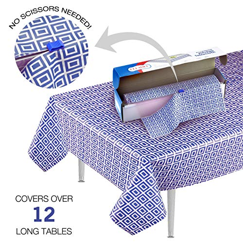 Blue Picnic/Party Plastic Tablecloth Roll, Disposable Picnic colored Table cloth On a Roll With Self Cutter Box,Cut Tablecloth To Your Own Table Size,Indoor/Outdoor, By Clearly Elegant ...]()