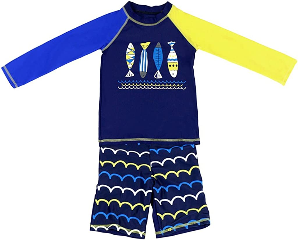 Amazon.com: Gogokids Boys Long Sleeved Swimsuit - Kids 2 Pieces Swimwear  Swim T-Shirt and Trunks: Clothing