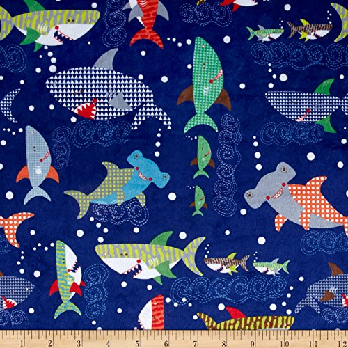 Minky Sharkies Deep Ocean Blue Fabric By The Yard