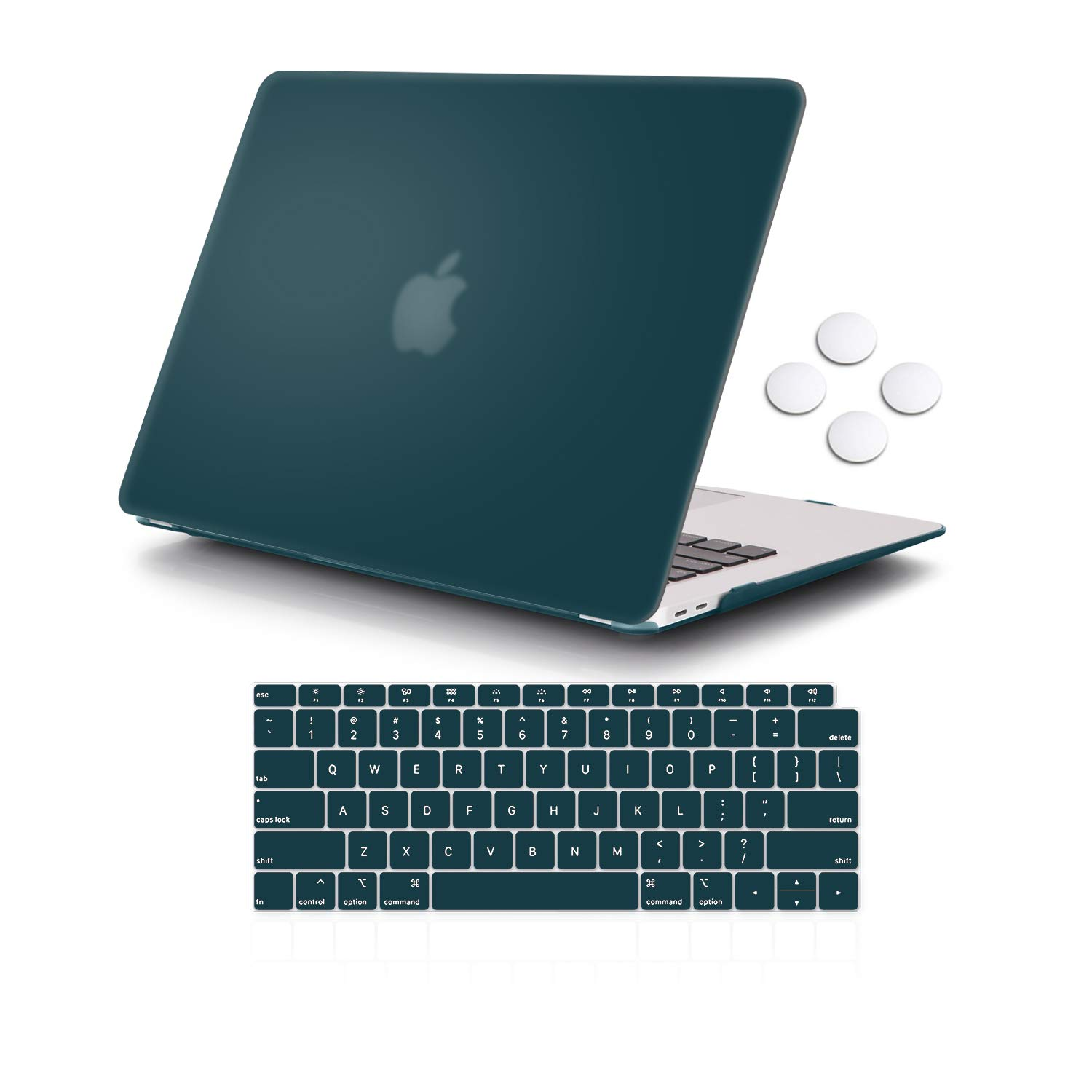 iCasso MacBook Air 13 Inch Case 2018 Release A1932 with Retina Display, Durable Rubber Coated Plastic Cover with Keyboard Cover Compatible Newest MacBook Air 13 with Touch ID- Dark Cyan
