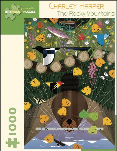 Finished Poster Bed (Charley Harper: The Rocky Mountains 1000-pc Jigsaw Puzzle)