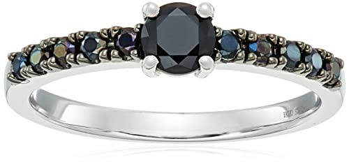 Sterling Silver Black Spinel Stackable Ring, Size 7