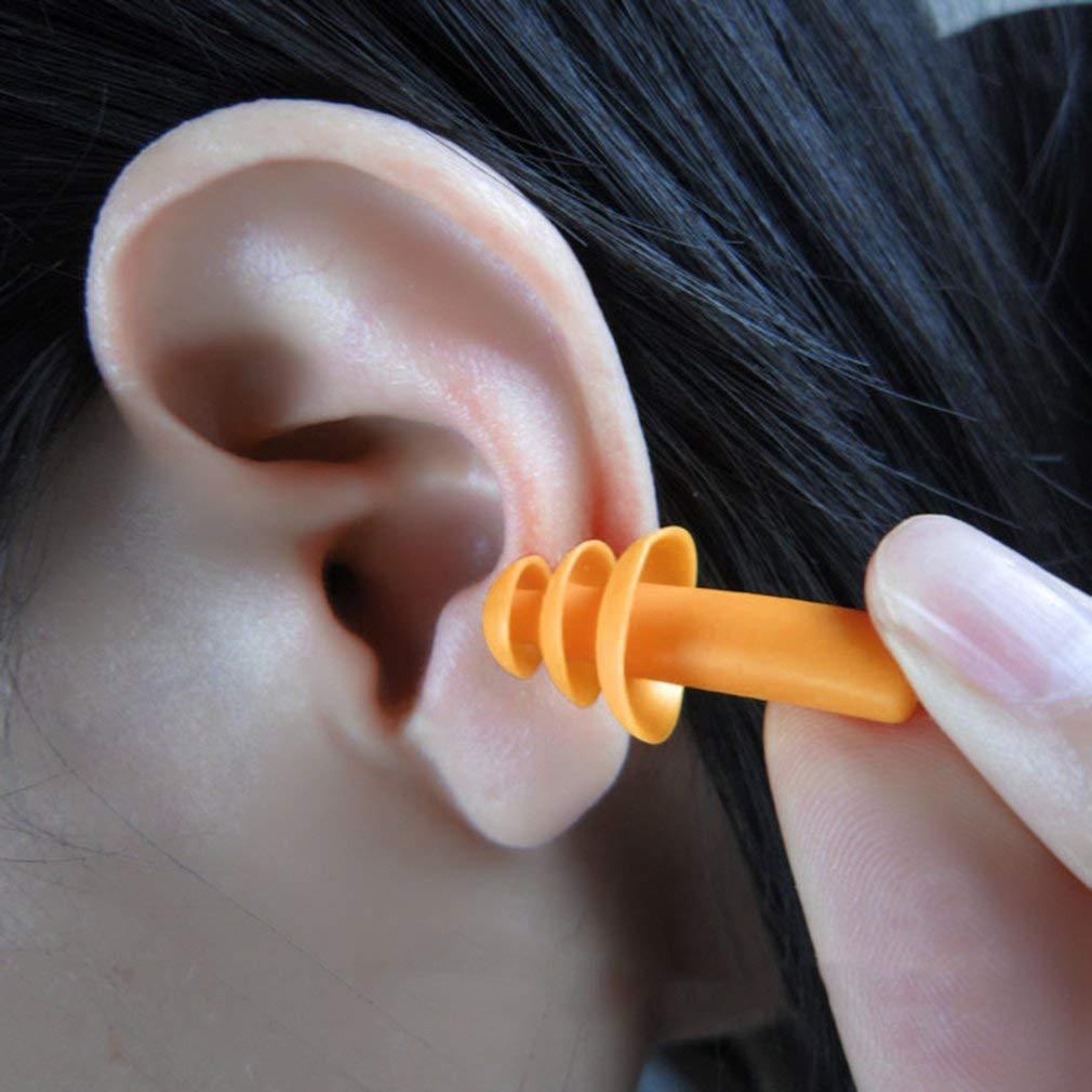 Leoboone un par de espiral conveniente tapones para los o/ídos de silicona antirruido ronquidos tapones para los o/ídos c/ómodos para dormir reducci/ón de ruido accesorio