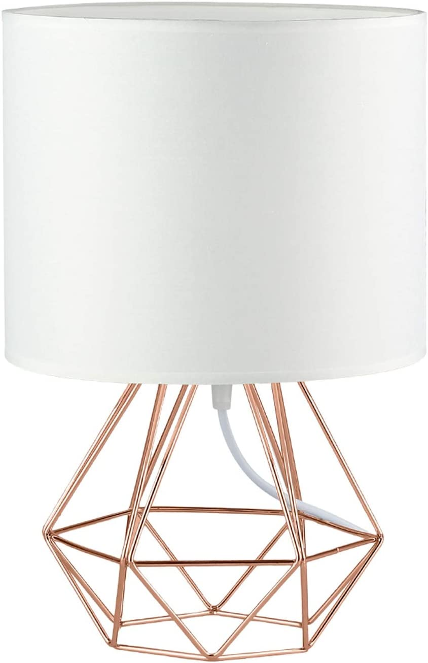 Modern Vintage Rose Gold Desk Table Lamps For Girls Kids Living Room Bedroom Minimalist Industrial Style Diy Bedside Night Light Metal Hollowed Out Base Fabric Shade Ecopower Geometric Cage Light