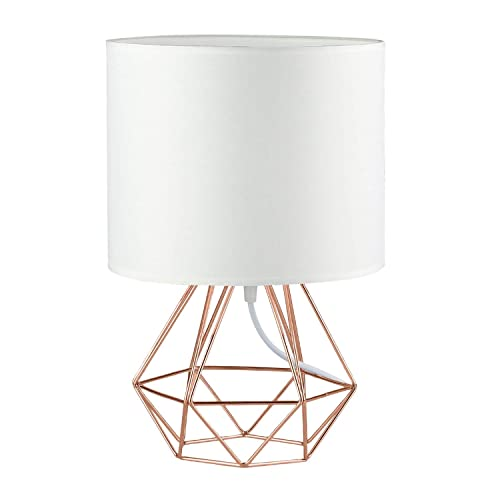 Modern Vintage Rose Gold Desk Table Lamps for Girls Kids Living Room Bedroom – Minimalist Industrial Style DIY Bedside Night Light Metal Hollowed Out Base Fabric Shade – Ecopower Geometric Cage Light