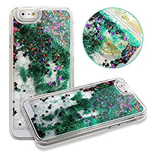 """UZZO iPhone 6 Case,iPhone 6 Glitter liquid case Case,Plastic Cases for iPhone 6 4.7 inch,iPhone 6 Case Transparent See Through Scratch Resistant Dual Layer Hybrid Bumper Double Protection Hard Cover,Cute Funny Plastic 3D Aquarium Glitter Bling Hearts Sequins and Star Flowing Liquid Infused Quicksand Hard Shell Case Cover for Apple iPhone 6 4.7"""""""" With 1Free Keyring-Star Green"""