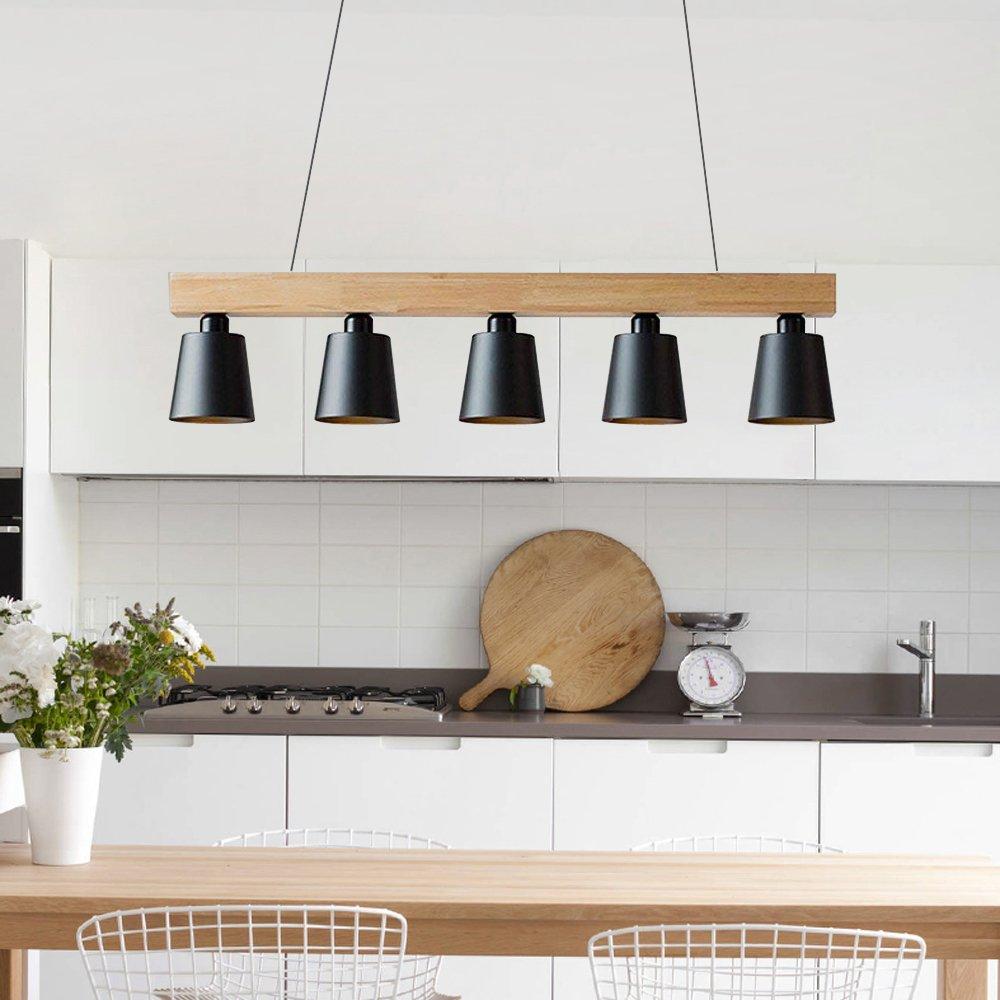 Noir 3 lumi/ères Suspension 5W moderne Lampe LED Plafonnier Hauteur R/églable Lustre plafond Lampe Pendentif lumi/ère