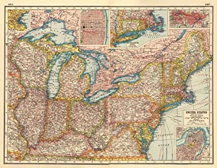 Amazon.com: USA NORTH EAST. Inset Boston St Louis New ...