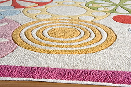 Momeni Rugs LMOTWLMT-8IVY3050 Lil' Mo Hipster Collection, Kids Themed Hand Carved & Tufted Area Rug, 3' x 5', Ivory