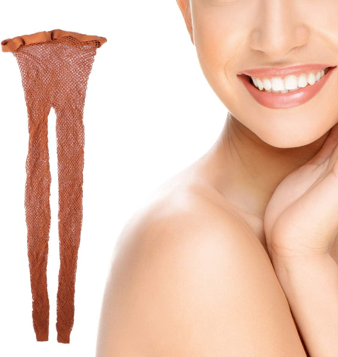 Caramel FENICAL Collants R/ésille Femmes Bas Collants Taille Moyenne Filet Moyen Trou