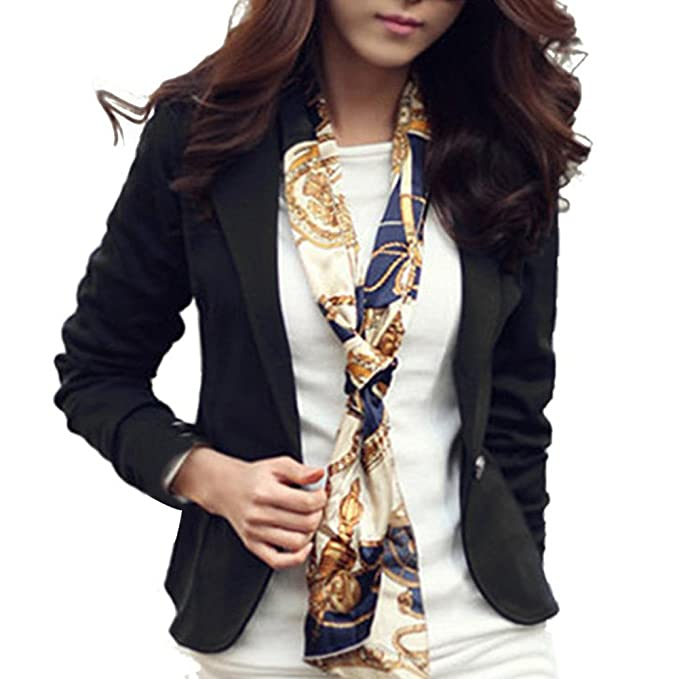 Exiu - Chaqueta tipo blazer para mujer, de manga larga, sencilla, informal,