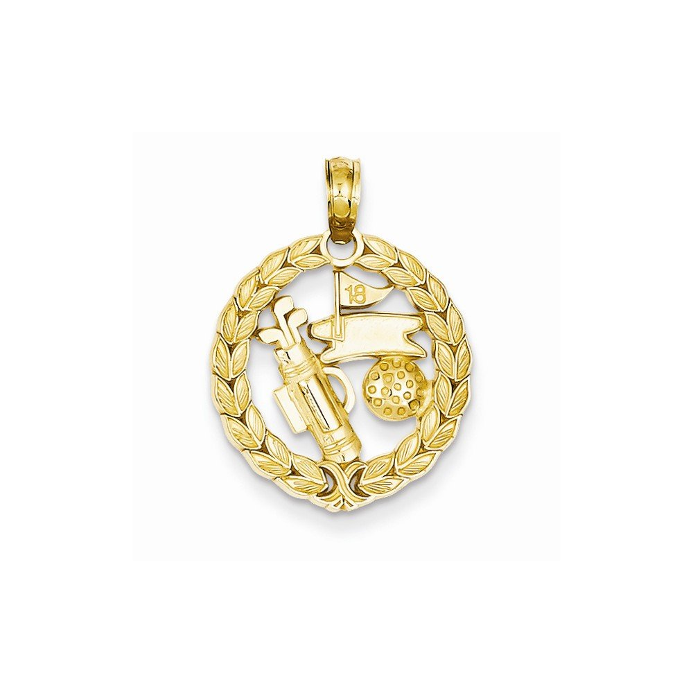 14k Yellow Gold Solid Polished Golf Theme Pendant