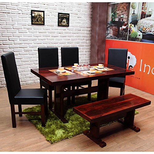 24111a3946d4f INDUSCRAFT Table Bench Contemporary Wooden Dining Set  Amazon.in   Electronics