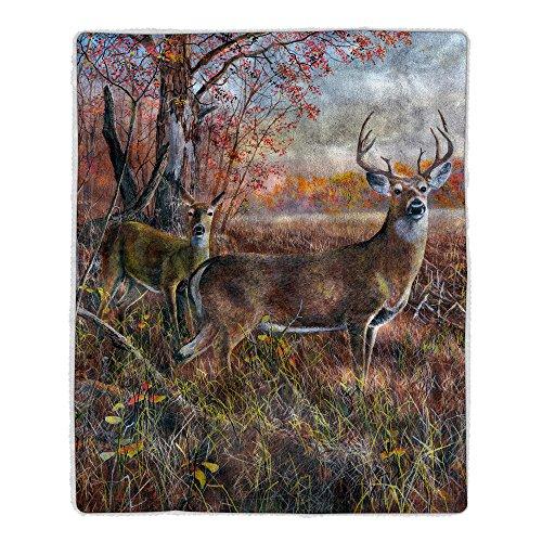 (Bedford Home 64A-Deer Sherpa Fleece Blanket)