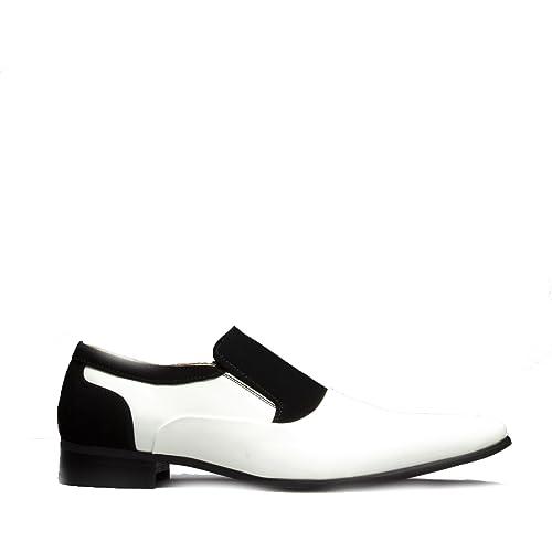 346186e2e6c Mister Carlo Hylton Mens Faux Patent Nubuck Slip On Loafers Black White UK 6