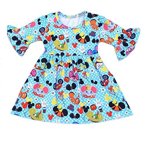 lzjlsqhyh 2018 Baby Girls Dresses Summer Clothes Cute Cartoon Mickey Printed Milksilk Short Sleeve Children Dress