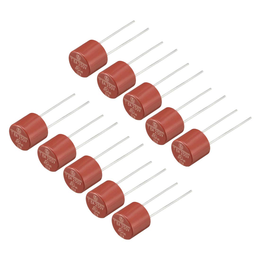 uxcell 10Pcs DIP Mounted Miniature Cylinder Slow Blow Micro Fuse T2.5A 2.5A 250V Red