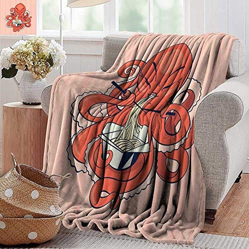 PearlRolan Weighted Blanket,Octopus,A Cartoon Octopus Eating Asian Noodles with Chopsticks in Tentacles Retro Style,Orange Pink,Indoor/Outdoor, Comfortable for All Seasons 30