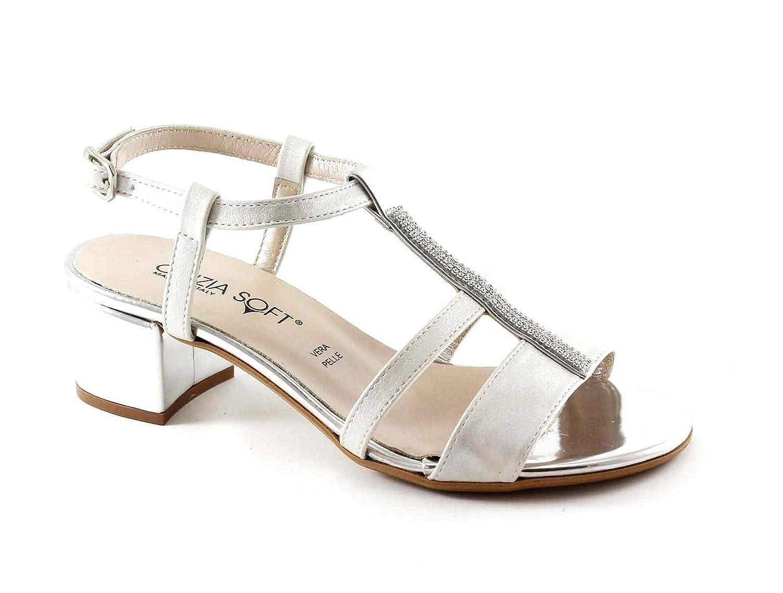 Cinzia Soft 68555 Bianco Argento Scarpe Sandali Donna Strass Cinturino Tacco Bianco