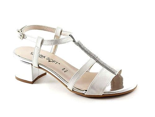 e05ca188b3 CINZIA SOFT 68555 Bianco Argento Scarpe Sandali Donna Strass ...