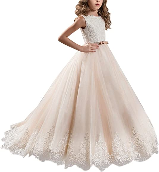 First Communion Princess Prom Gown for Flower Girl Dress Kid/'s Birthday Party