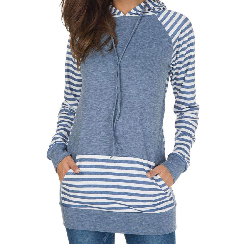 Womens Long Sleeve Sweatshirt,Ladies Stripe Round Neck Hooded T-Shirt Blouse (L, Bule)