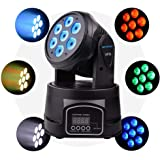Betopper Moving Head Light, 7x8W RGBW DJ lights LED Lights Sound Active Stage Lights Wash Lights DMX 512 Strobe Lighting…