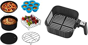 COSORI Air Fryer Accessories XL (C158-6AC), Set of 6 Fit all 5.8Qt, 6Qt Air Fryer, FDA Compliant & Air Fryer Replacement Basket 5.8QT For COSORI Black CP158-AF, CS158 & CO158 Air Fryers