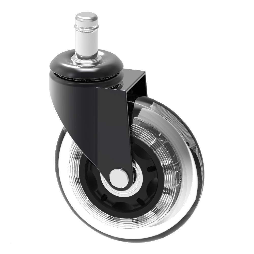 10 mm stelo Chair Caster Wheel replacement Herrman proteggere pavimenti in legno duro per Ikea ufficio sedie   7,6 cm grande manubrio in gomma resistente Ikea Caster, dimensioni: 10 mm x 22 mm (3/20,3 cm x 7/20,3 cm) (Caster _ 3IN _ Ikea) 3 cm x 7/20