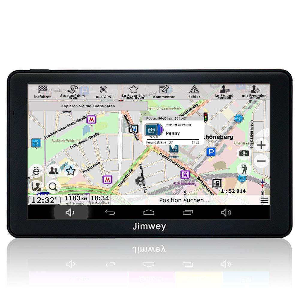 Jimwey GPS Navi Navigation fü r Auto LKW PKW KFZ 7 Zoll Android Navigationsgerä t Bluetooth 16GB Online Kostenloses Kartenupdate POI Blitzerwarnung Sprachfü hrung Spurassistent 2018 EU UK US Karte Nav-AD-Rut