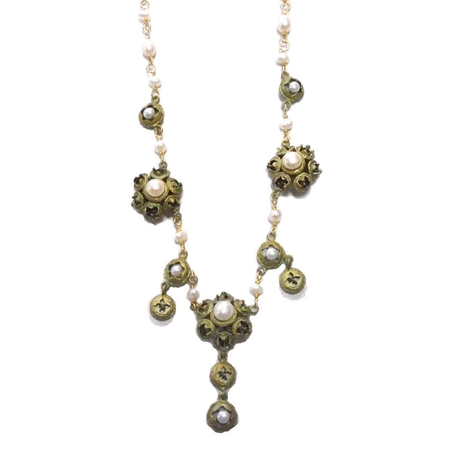 ''Eucalyptus & Pearls'' 3 Pod Necklace By Michael Michaud for Silver Seasons- Ours Exclusively