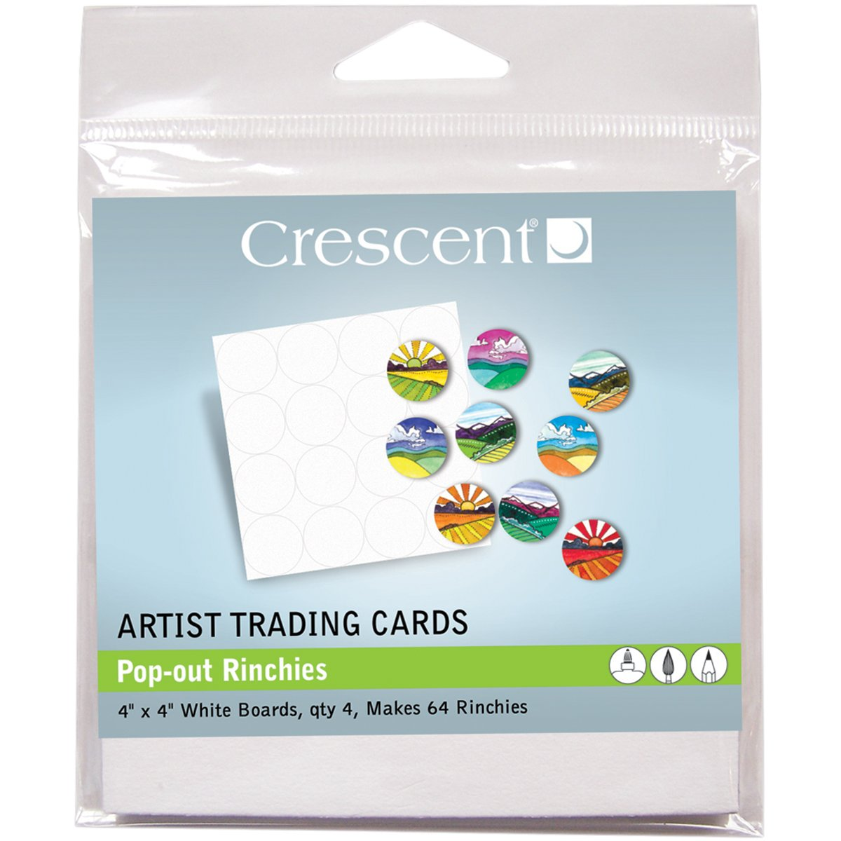 Crescent Cardboard Artist Pop-Out Rinchies Trading Cards (4 Pack), 4' by 4'
