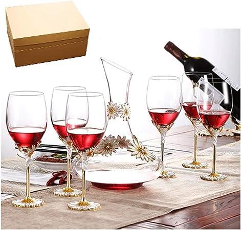 Uioy Vaso de Vino Tinto - Copa de Vino/Caja de Cristal/Vaso de champán/decantador/Copa/Vino/Regalo Libre de Plomo/Regalo Creativo / 7 Piezas Copa de Vino Blanco: Amazon.es: Hogar