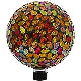 Sunnydaze Decor Mosaic Glass Gazing Globe Ball, Gold, 10 Inch